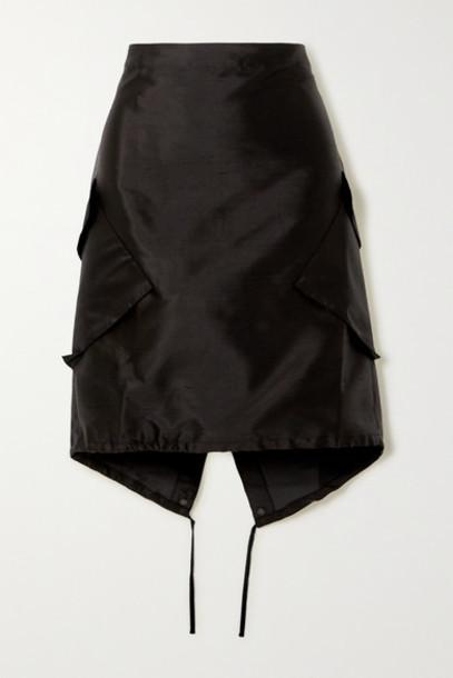 Ioannes - Combat Silk And Cotton-blend Dupioni Skirt - Black