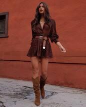 shoes,knee high boots,brown boots,shirt dress,long sleeves,belt