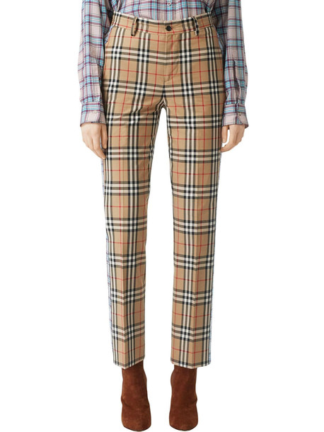 BURBERRY Cotton Canvas Pants W/ Side Bands in beige