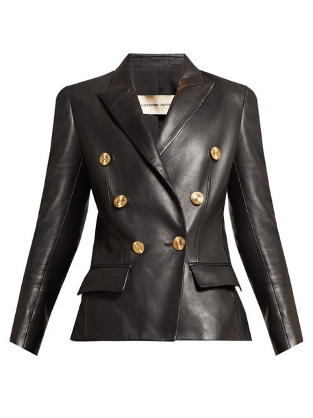Alexandre Vauthier - Double Breasted Leather Blazer - Womens - Black