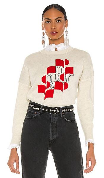 Isabel Marant Etoile Marisa Sweatshirt in Light Grey in red