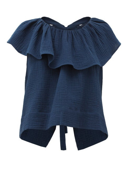 Loup Charmant - Dominica Ruffled Cotton Seersucker Blouse - Womens - Navy