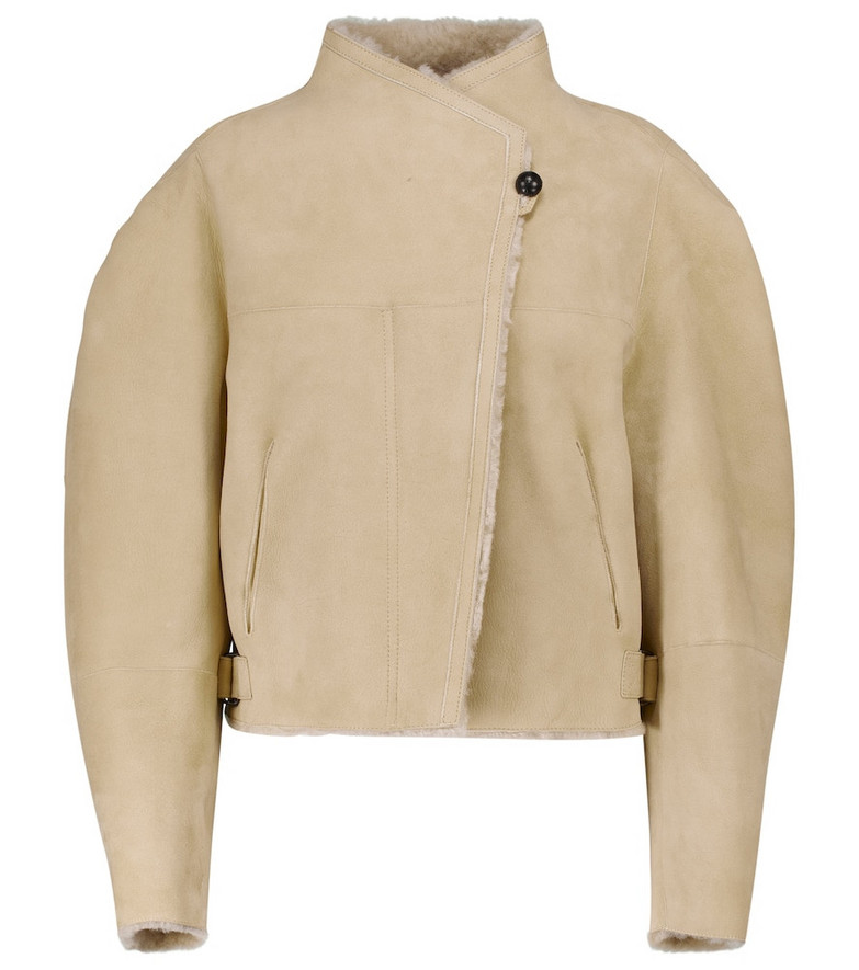 Isabel Marant Acacina suede and shearling jacket in beige