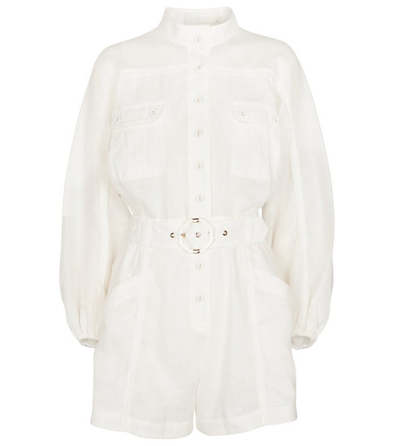 Zimmermann Estelle belted linen playsuit in white