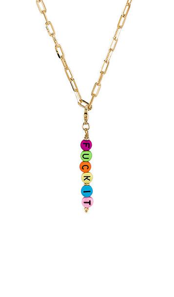 joolz by Martha Calvo Fuck It Mood Necklace in Metallic Gold