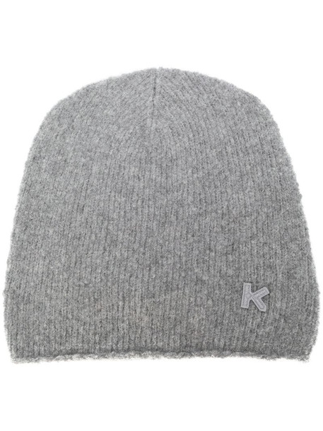 Kenzo cashmere-wool blend beanie hat in grey