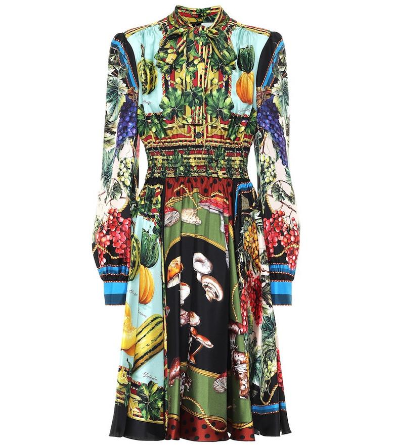 Dolce & Gabbana Printed silk twill midi dress
