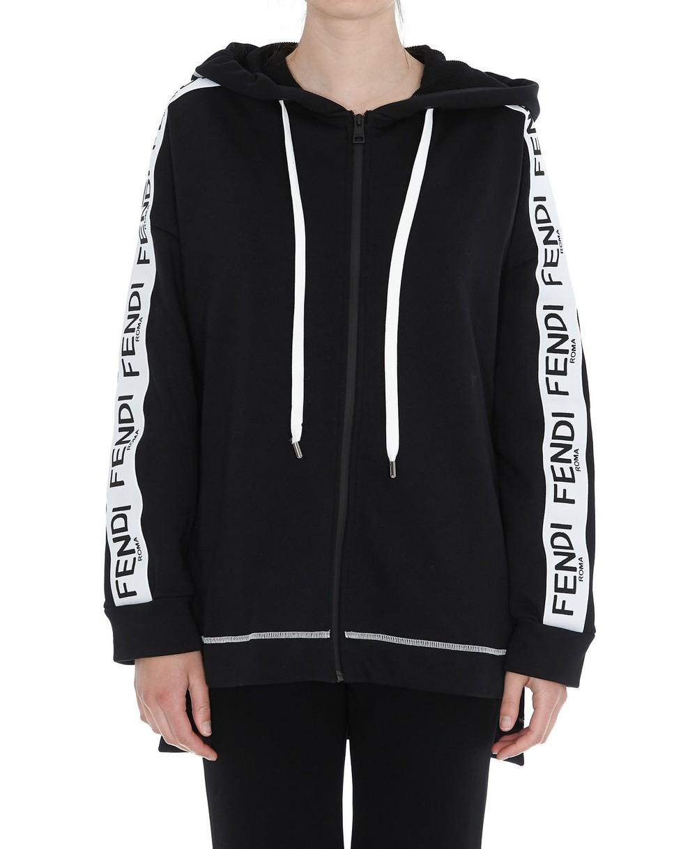 Fendi Fendi Logo Zipped Hoodie in black
