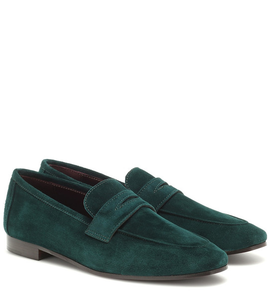 Bougeotte Flaneur suede loafers in green