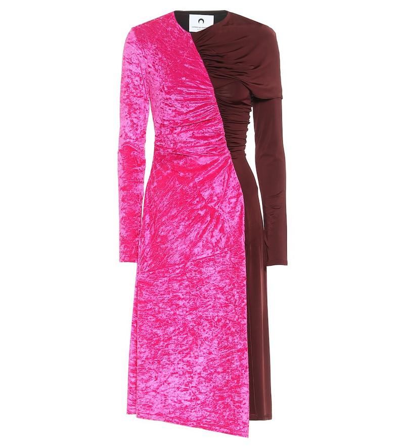 Marine Serre Stretch-velvet and jersey midi dress in pink
