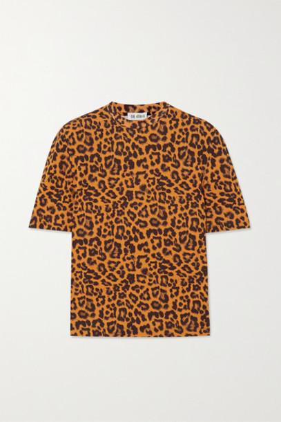 The Attico - Bella Leopard-print Cotton-jersey T-shirt - Black