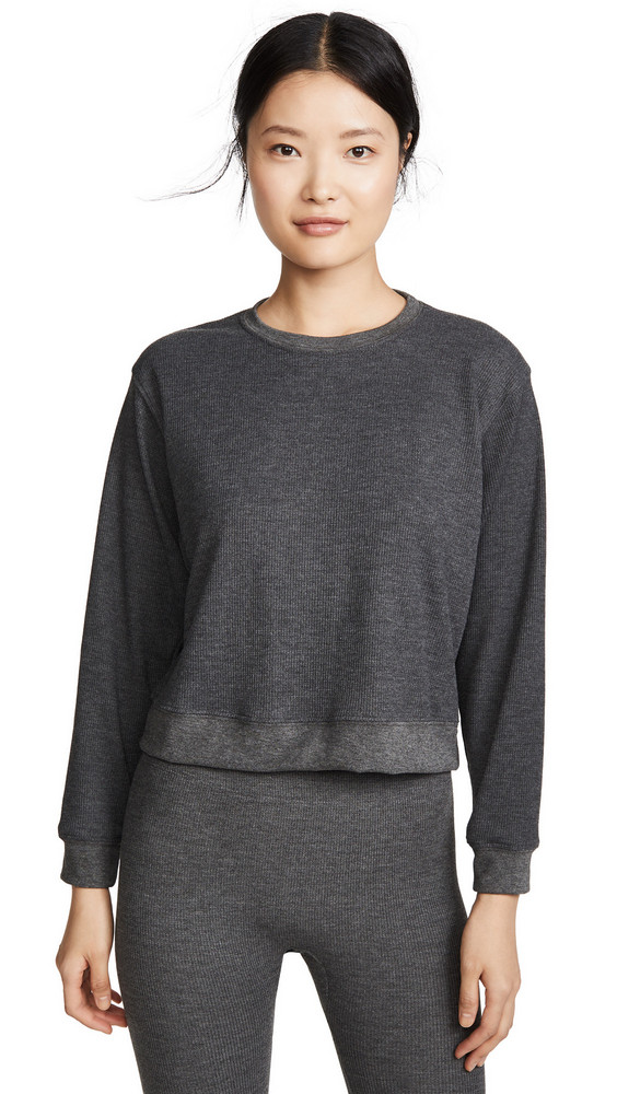Maison du Soir Crew Neck Thermal PJ Top in charcoal