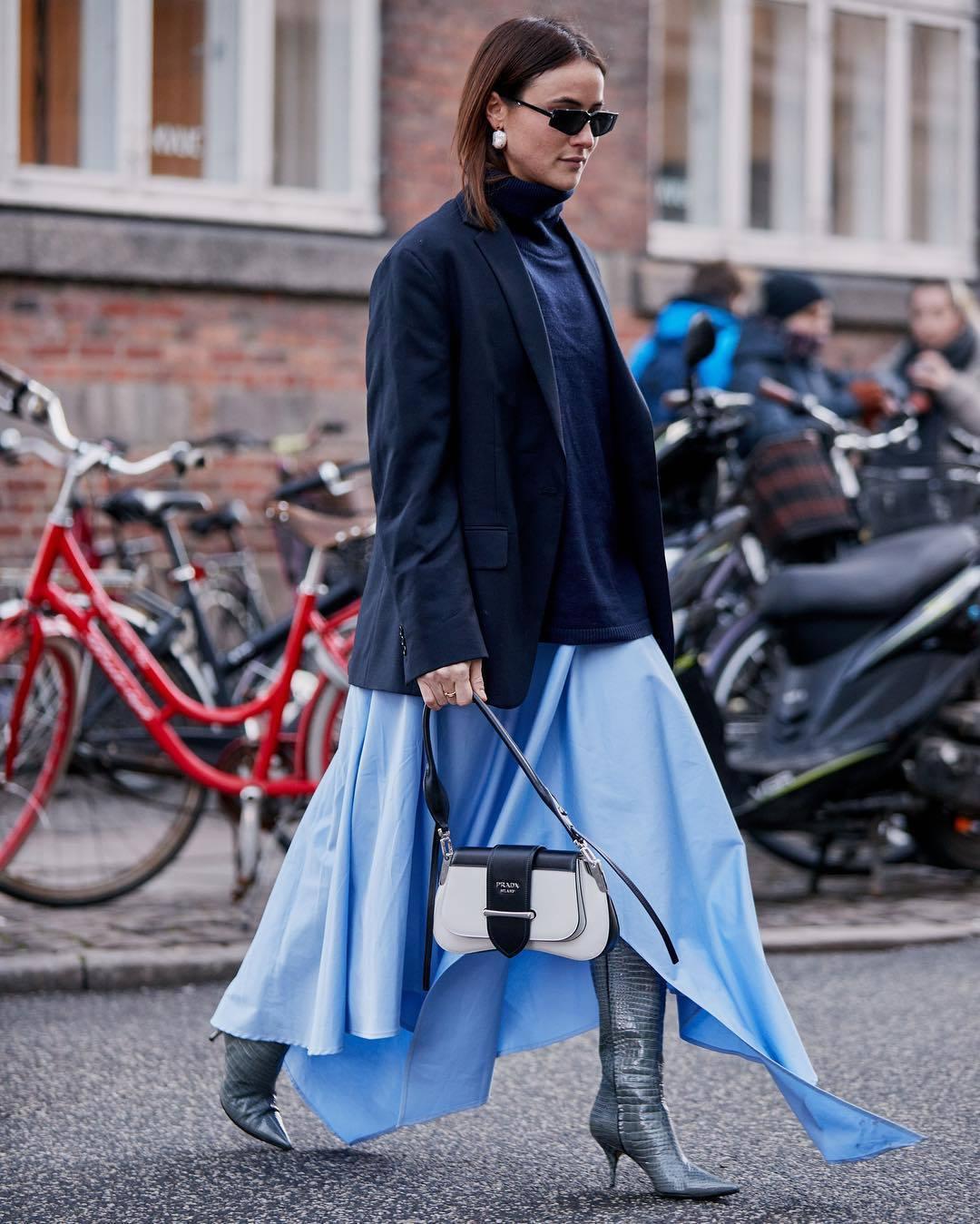 bag white bag leather bag shoulder bag prada bag knee high boots grey boots heel boots blue shirt maxi skirt asymmetrical skirt turtleneck sweater navy blazer