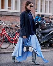 bag,white bag,leather bag,shoulder bag,prada bag,knee high boots,grey boots,heel boots,blue shirt,maxi skirt,asymmetrical skirt,turtleneck sweater,navy,blazer