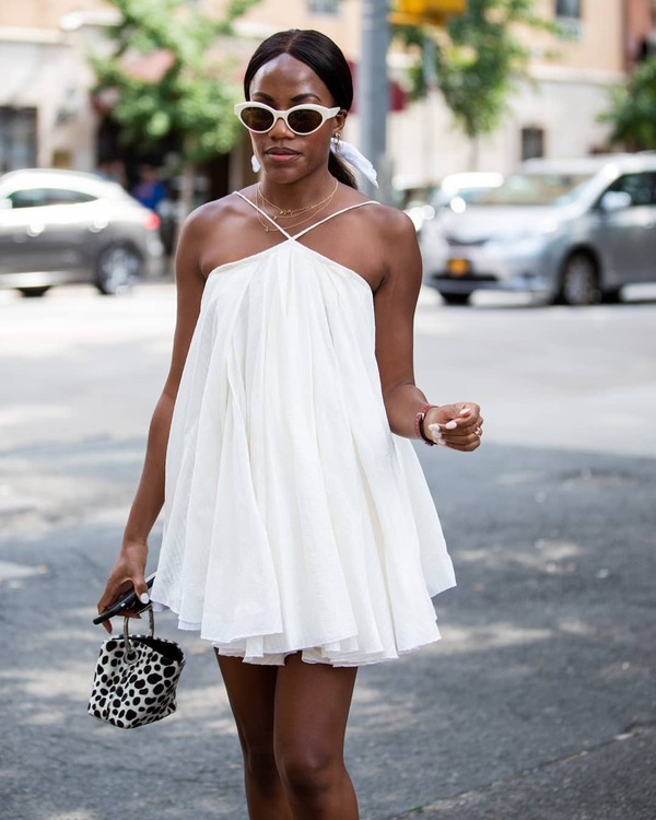 dress mini dress white dress sleeveless dress chiffon handbag