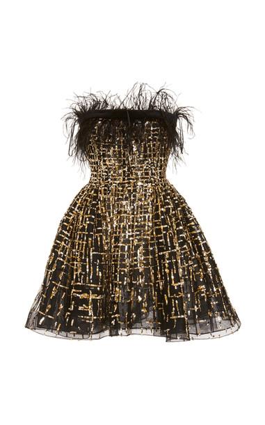 Zuhair Murad Golden Sequined Tulle Mini Dress in black