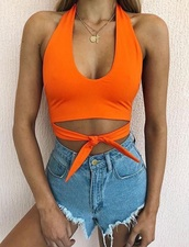 top,orange halter neck