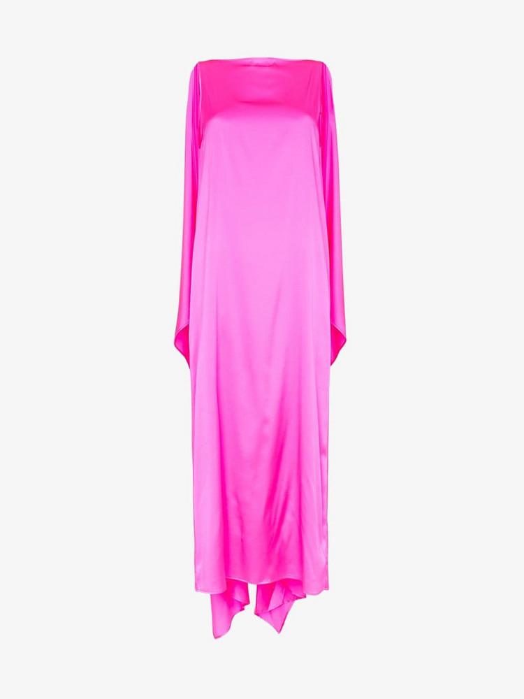 Bernadette Sleeveless Silk-Blend Cape Dress in pink