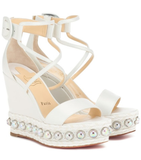 Christian Louboutin Chocazeppa 120 wedge sandals in white