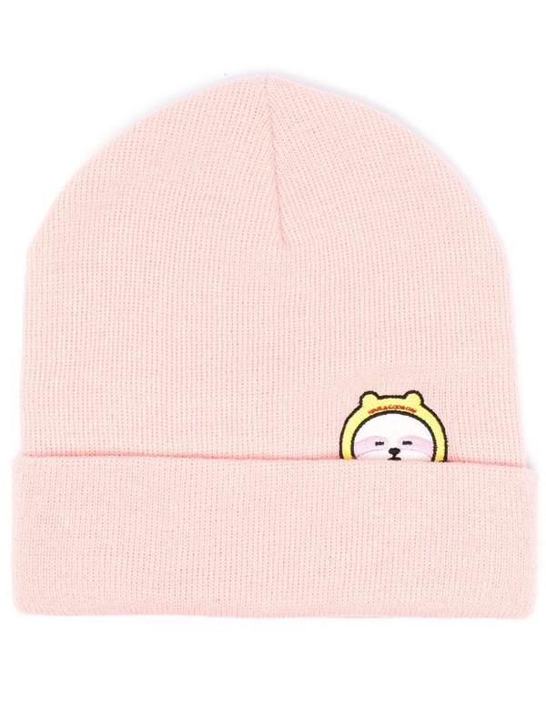 IRENEISGOOD slogan embroidered beanie hat in pink