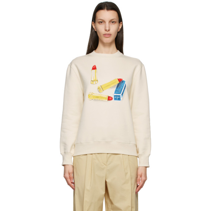 Lanvin Off-White Scented Lipstick Sweatshirt in ecru