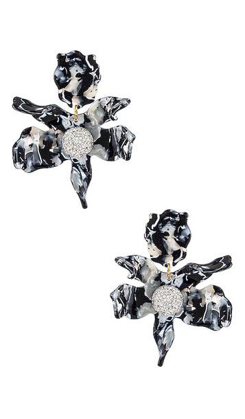 Lele Sadoughi Crystal Lily Earrings in Black in noir