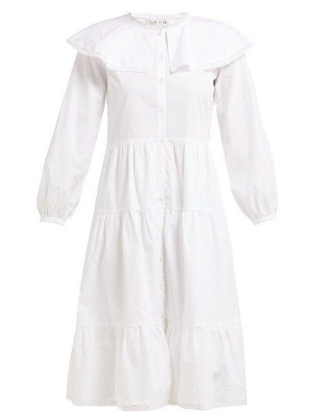 Sea - Lace Trim Ruffled Cotton Dress - Womens - White