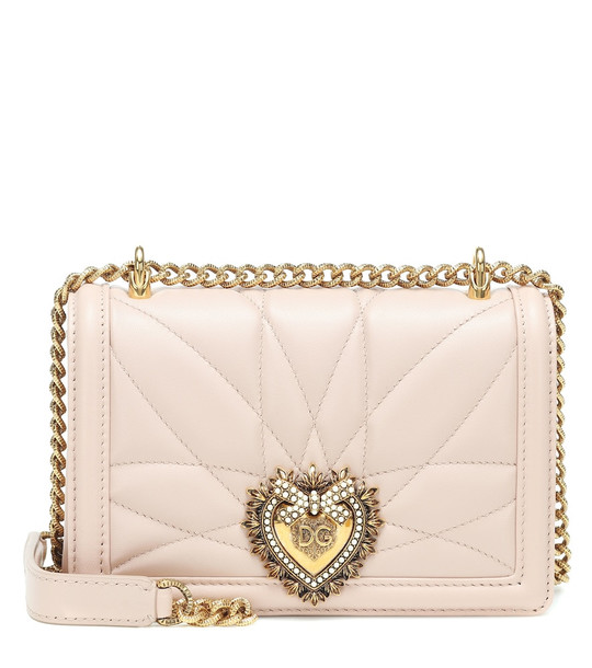 Dolce & Gabbana Devotion Small leather shoulder bag in pink