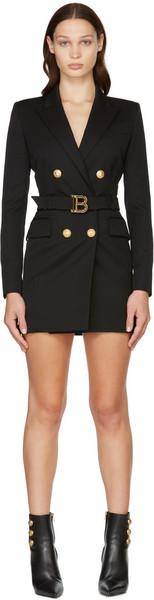 Balmain Black Wool Logo Belt Blazer Dress in noir