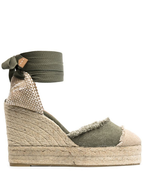 Castañer open toe wedge-heeled espadrille with ankle ties in green