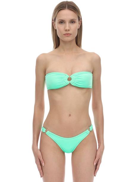 REINA OLGA Bandcamp Velvet Bikini Set in green