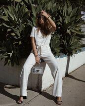 pants,striped pants,wide-leg pants,high waisted pants,black sandals,transparent  bag,white t-shirt