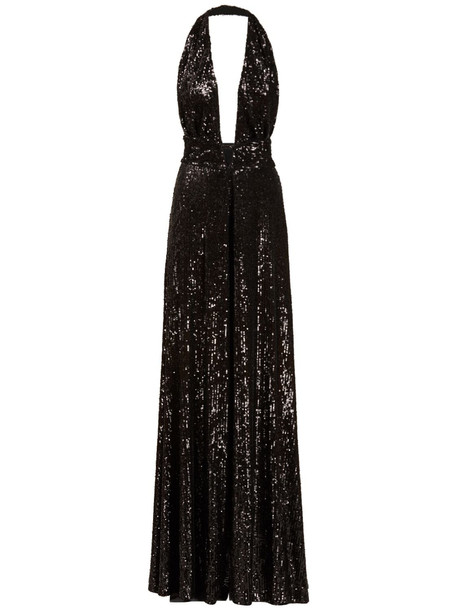 AZZARO Stretch Sequined Deep V Neck Jumpsuit in black