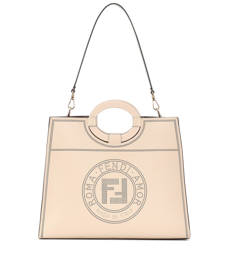 Fendi Runaway Medium leather tote in beige