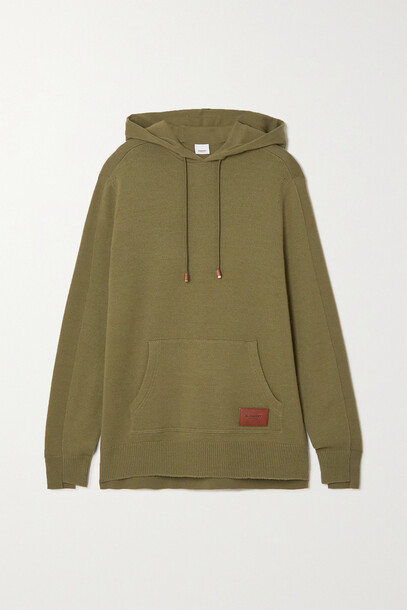Burberry - Appliquéd Wool And Cashmere-blend Hoodie - Green