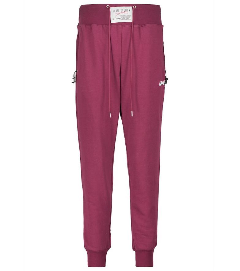 Adam Selman Sport High-rise cotton-blend sweatpants in red