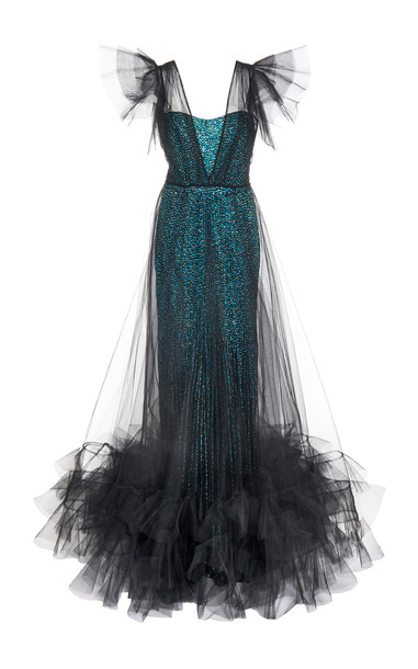 Jenny Packham Verona Tulle Overlay Gown in black