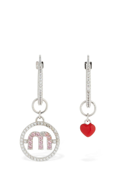 MIU MIU Micro Charm Logo Hoop Earrings in silver / multi