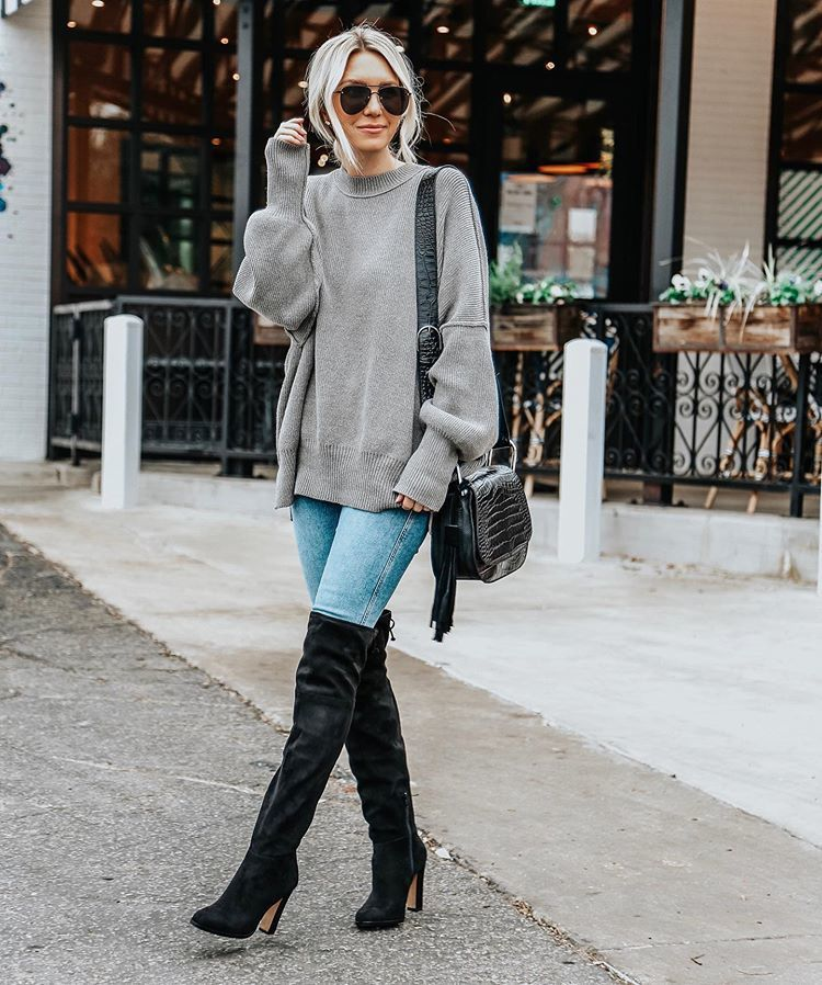 shoes over the knee boots black boots suede boots skinny jeans oversized sweater grey sweater black bag