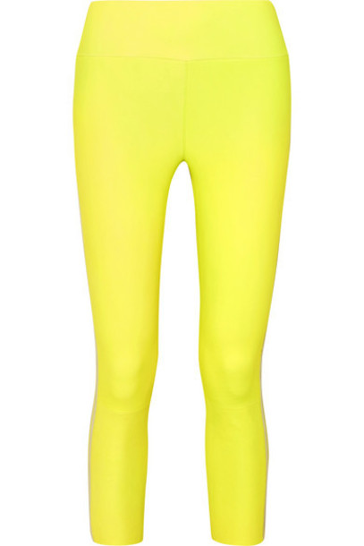 SPRWMN - Cropped Striped Leather Leggings - Yellow