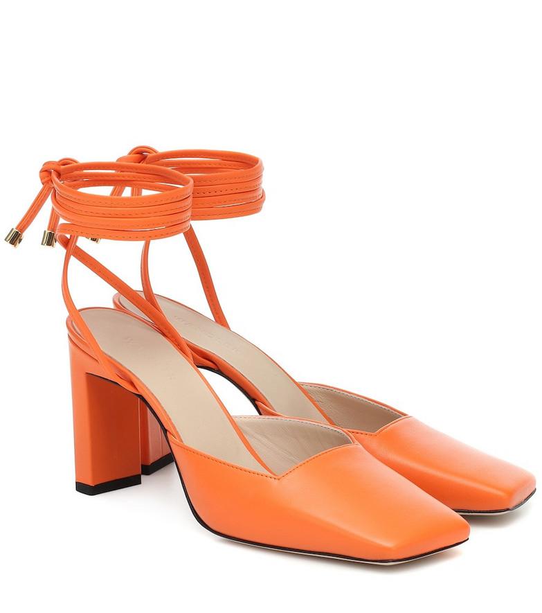 Wandler Elisa leather mules in orange