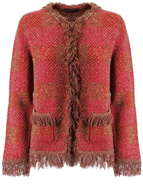 Etro Fringed Detail Cardigan in red / multi