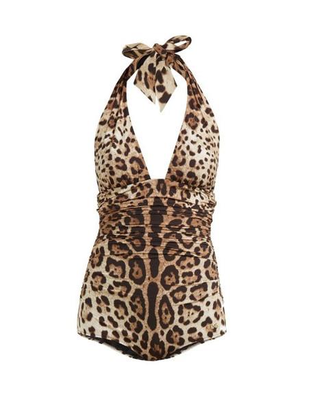 Dolce & Gabbana - Leopard Print Ruched Side Halterneck Swimsuit - Womens - Leopard