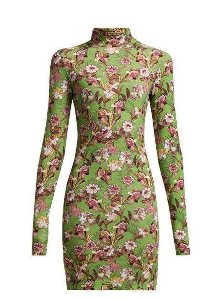 Vetements - Floral Print Long Sleeved Mini Dress - Womens - Green Multi