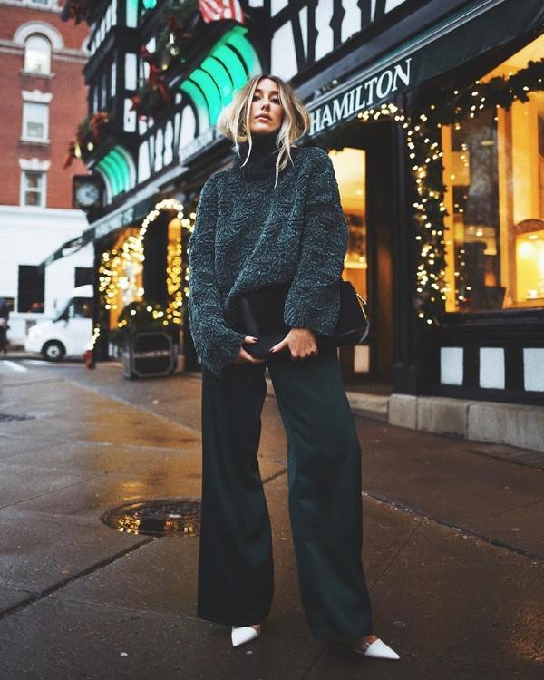 pants wide-leg pants pumps oversized sweater turtleneck sweater black bag