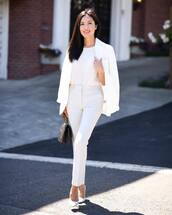 pants,skinny pants,pleated,hugo boss,white shoes,pumps,white blazer,white blouse,handbag,classy