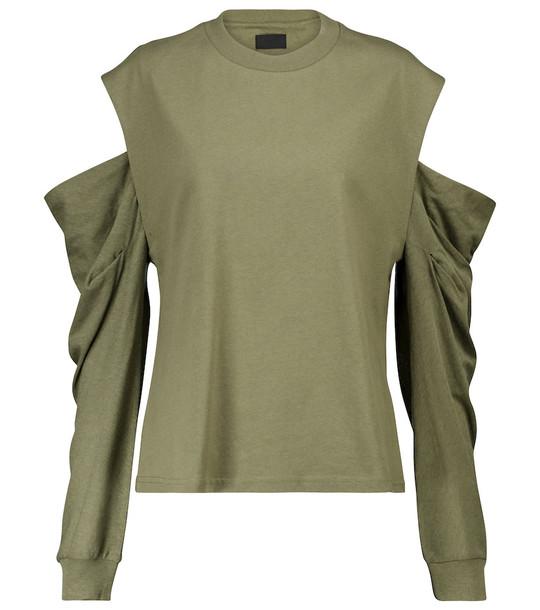 RtA Capucine cutout cotton jersey top in beige