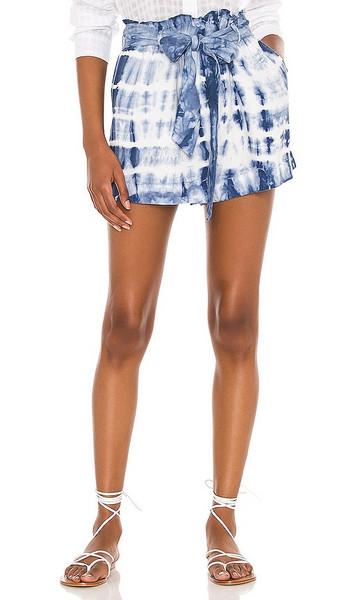 Bella Dahl Ruffle High Waist Short in Blue in indigo