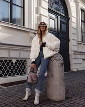 jacket,white jacket,cowboy boots,denim,jeans,handbag,furry bag,black hoodie