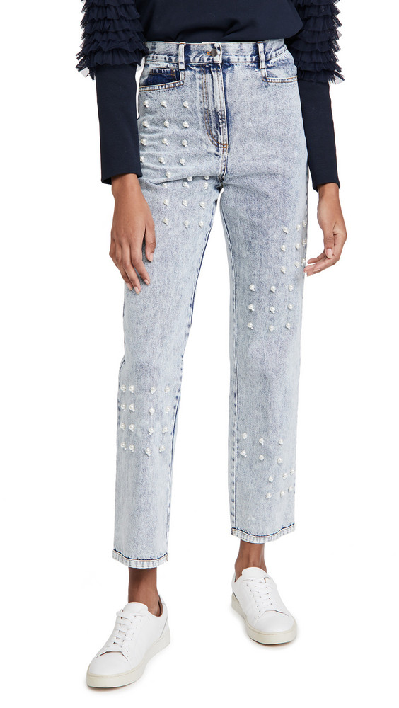 Sea Betty Acid Wash Faux Pearl Jeans in blue